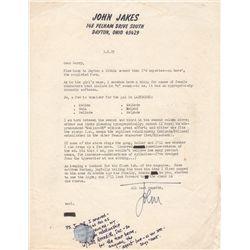 Historical Fiction Writer John Jakes Typed Letter Signed