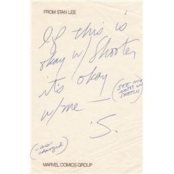 Marvel Icon Stan Lee Autographed Note Signed
