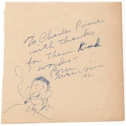 Editorial Cartoonist Bill Mauldin Autograph Note Signed with Self Caricature Sketch