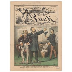 Frederick Opper Signed Original Cover Print from Puck Magazine, March 5, 1884