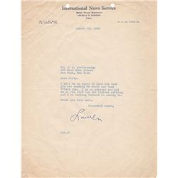 Hollywood Report Gossip Columnist Louella Parsons Typed Letter Signed