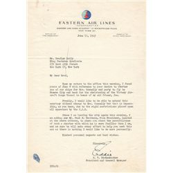 Fighter Ace Captain Eddie Rickenbacker Typed Letter Signed