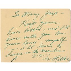 Cowboy Star & Western Singer Tex Ritter Autograph Note Signed