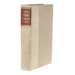 Lowell Thomas Signed Limited First Edition The First World Flight with Fabric from Plane