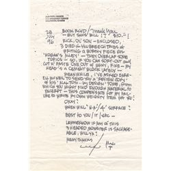 Space Ghost Artist Alex Toth Autograph Letter Signed