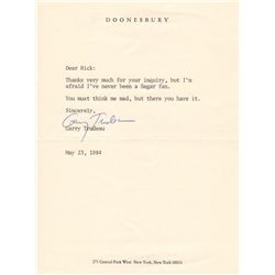 Doonesbury Creator Garry Trudeau Typed Letter Signed