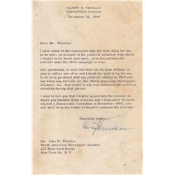 Harry S. Truman Typed Letter Signed Regarding the 1960 Presidential Election