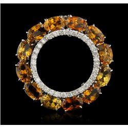 14KT White Gold 3.06ctw Orange Tourmaline and Diamond Pendant DJ93