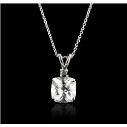 14KT White Gold 3.00ct Aquamarine Pendant With Chain GB4861