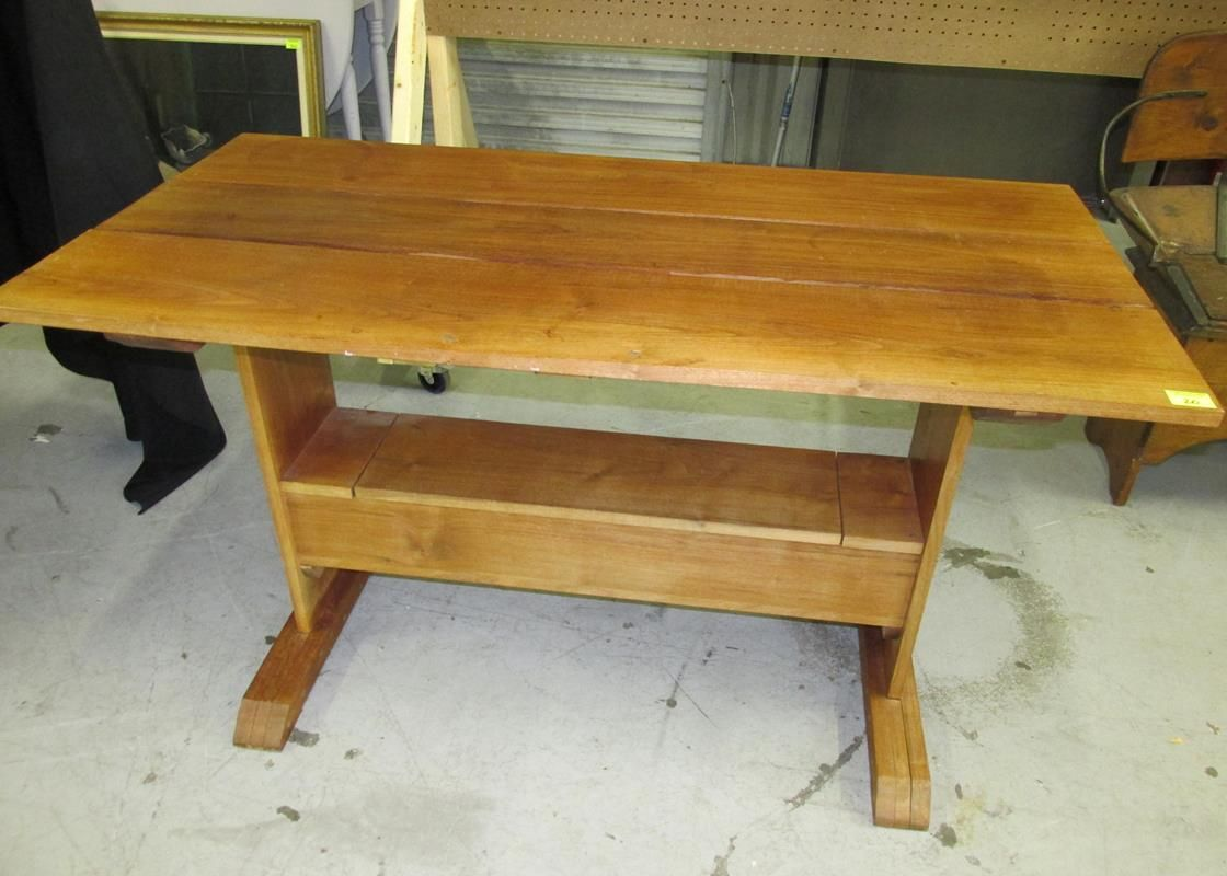 Teak Wood Slat Table With Lower Compartment