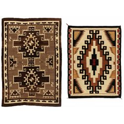 "Two Navajo Weavings, 6'1"" x 4'2"" and 5' x 3'9"""