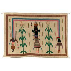 "Navajo Yei Weaving, 4'3"" x 3'3"""