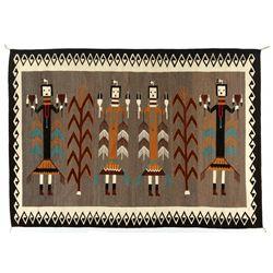 "Navajo Yei Weaving, 7'5"" x 6'1"""