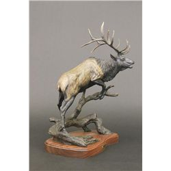 Dynamic Bronze Sculpture of a Bull Elk