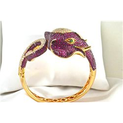 Custom Made Ruby/Diamond Elephant Bangle