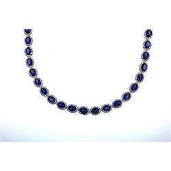 Tanzanite and Diamond Tennis Necklace