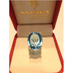 Ladies 14K Blue Topaz Ring