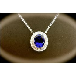 10 Carat Tanzanite and Diamond Necklace