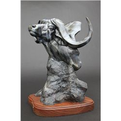"""Steppin' Out"" - Bronze Sculpture Bust of Cape Buffalo by Ron Brunson"