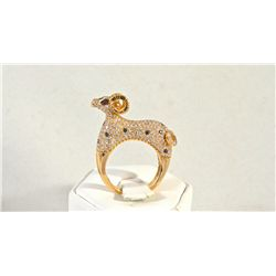 18K Rose Gold and Diamond Ring with Ram Design