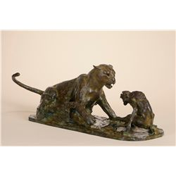 """Nemesis"" Leopard and Baboon Bronze by John Tolmay"