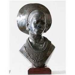 """Zulu Woman"" Opal Stone Sculpture by James Tandi"