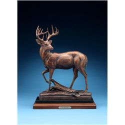 """Mr. Whitetail"" 1/3 Life-Size Bronze, Artist Proof, Sculpted by Mark James for Larry Weishuhn"