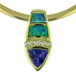14K Gold Tanzanite and Australian Opal Pendant with Diamonds