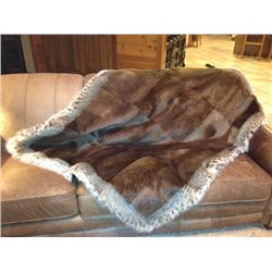Beaver Fur Blanket With Bobcat Trim