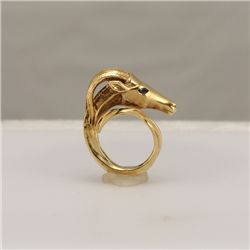 14K Gold Gazelle Motif Ring