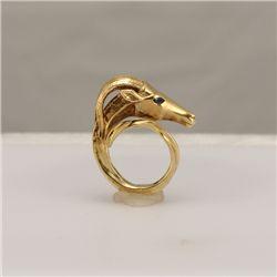 14K Gold Gazelle Motif Ring