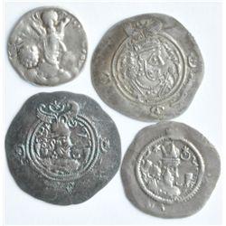 Sassanian - Lot of Four Different Silver Drachms