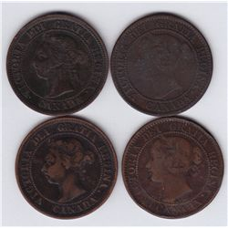 Lot of Four Victorian Large Cents.