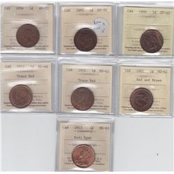 Lot of 7 ICCS Graded One Cents