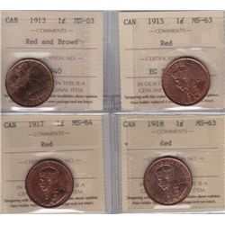 Lot of 4 ICCS Graded One Cents
