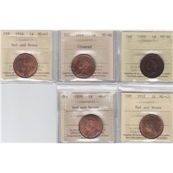 Lot of 5 ICCS Graded One Cents