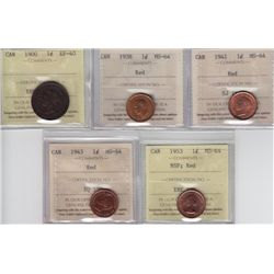 Lot of Five ICCS Graded One Cents