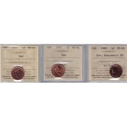 Lot of Three ICCS Graded One Cents