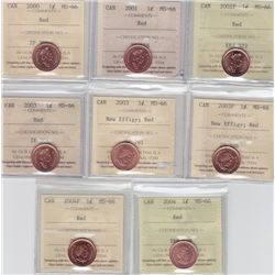 Lot of Eight ICCS Graded One Cents