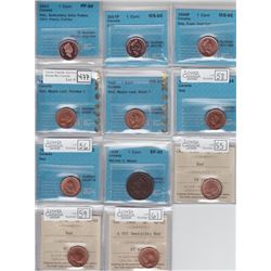 Lot of Eleven ICCS & CCCS Graded One Cents