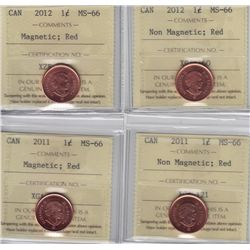 Lot of Four ICCS Graded One Cents