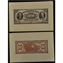 1931 Dominion Bank $100 Front & Back Proofs