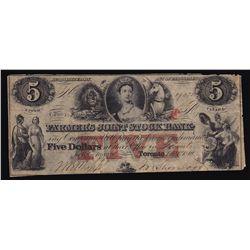 1849 Farmer's Joint Stock $5