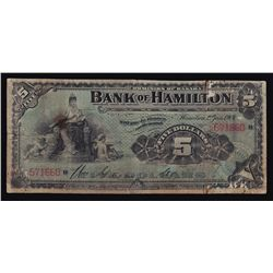 1904 Bank of Hamilton $5