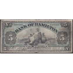 1909 Bank of Hamilton $5