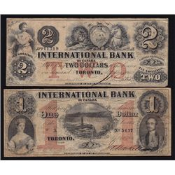 Lot of Two 1858 International Bank Notes
