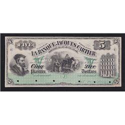 1886 La Banque Jacques Cartier $5 Front Proof