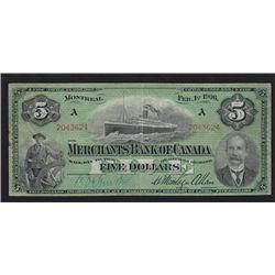 1906 Merchants Bank of Canada $5