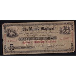 1864 Bank of Montreal $5 Counterfeit