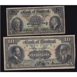Lot of 2 Bank of Montreal Notes